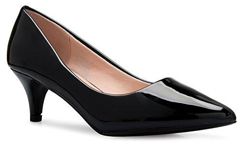 OLIVIA K Women's Classic D'Orsay Closed Toe Kitten Heel Pump - Casual, Comfort Black