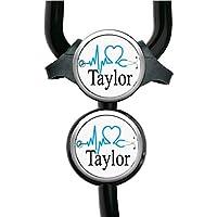 EKG Heart Stethoscope Tag (8 Colors) - Adjustable Yoke or Tube Steth Id Personalized with Name Monogram, Occupation Title - Hospital Nurse Gift