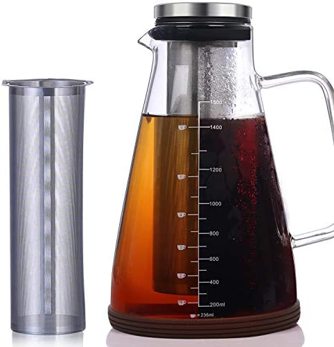 Large Cold Brew Iced Coffee Tea Maker – 50 Oz 1.5L – Protective Non-slip Silicon Base – Glass Carafe and Water Pitcher with Removable Filter – Coffee and Tea Brew Recipe Included