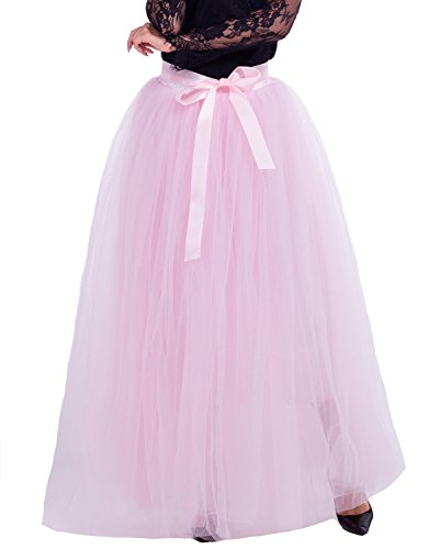 Comall Femme Jupon sous Robe Jupe Tutu en Tulle 7 Couches 100cm Rtro Vintage Petticoat Rose