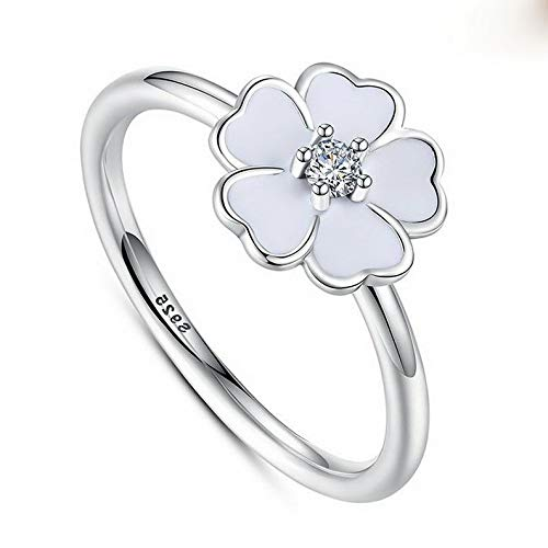 Campton 925 Silver Ring Daisy Flower Women Men White Topaz Wedding Engagement Size 5-10 | Model RNG - 12436 | 10