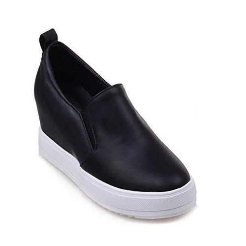 Amoonyfashion Femmes Pu Chaton-talons Ronds Fermé Orteil Solides Pompes À Enfiler-chaussures Noir