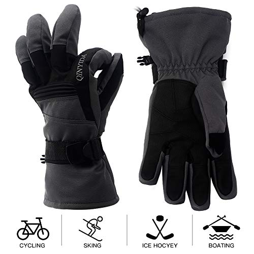 Mounchain Winter Ski Gloves Waterproof Windproof and Breathable Snow Gloves Fit Women and Men with Wrist Leashes, Zipper and Pocket, Anti-Slip PU Palm and Polyester Fabric Grey Large