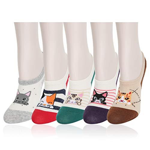 Womens Novelty Silly Funny Cute No Show Socks Non-Slip Knit Cartoon Kitten Cat Cotton Ankle Socks 5 Pack-I Love Kitten