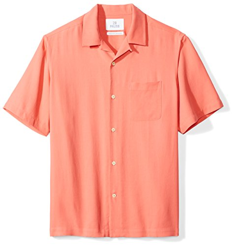 28 Palms Men's Relaxed-Fit 100% Silk Camp Shirt, Coral, Large