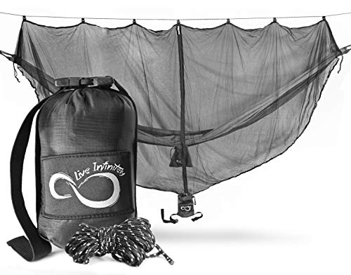 Live Infinitely Hammock Mosquito Net- 11'x 5' - Fits All Single & Double Camping Hammocks -Stop No See Ums, Mosquitos, Spiders & Pesky Bugs -Lightweight Easy Setup & Exclusive XL Compression Pouch