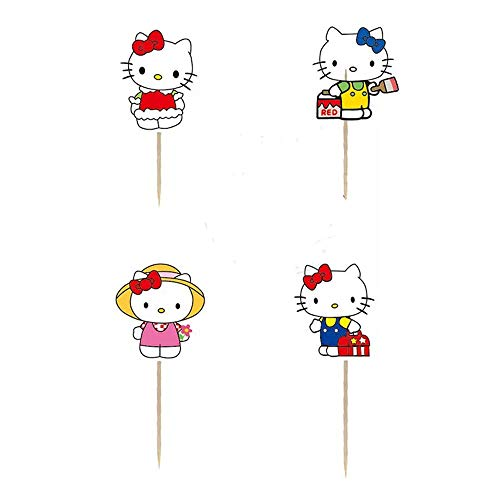 Chaoiwah 24pc Hello Kitty Cupcake Toppers for Birthday Party Event Decor -