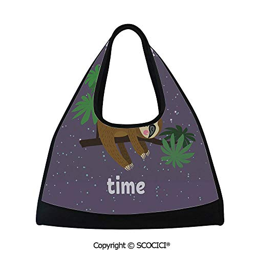 Plum Brown Barrel - Short distance travel bag,Cute Cartoon Character Sleeping on Branch Jungle Animal in Night Sky Kids Theme,Easy to Carry(18.5x6.7x20 in) Plum Brown Green