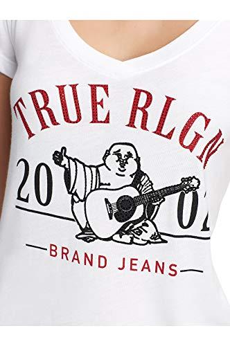 True Religion Women's Crystal Embellished 2002 Buddha Rounded V-Neck Tee T-Shirt (Medium, White)