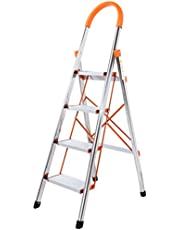 WolfWise 3/4-Step Stool Ladder Portable Folding Anti-Slip with Rubber Hand Grip 330lbs Capacity,Silver Household Stepladders