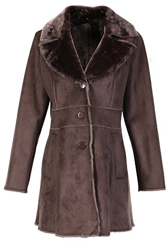 Enjoy Fur Women's Middle Length Faux Suede Fur Coat with Notched Collar(Size: S)