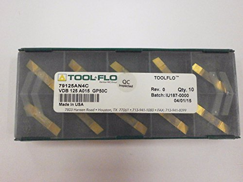 Tool Flo Grooving Inserts - 10pc) ToolFlo VDB 125A015 GP50 Coated Carbide VEE Bottom Deep Grooving Inserts Tool Flo Made in USA