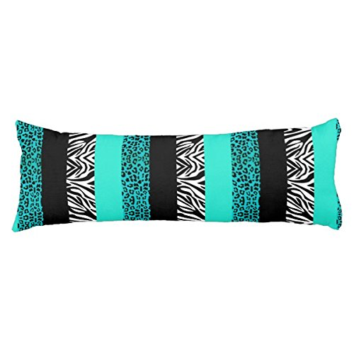 UOOPOO Aqua Blue Leopard and Zebra Animal Print Polyester Body Pillow Cover Square 20 x 54 Inches for Bed Two Sides