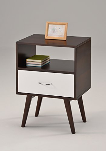 41af4nKK2 L - eHomeProducts Side End Table/Nightstand with Drawer/Shelf, White/Espresso