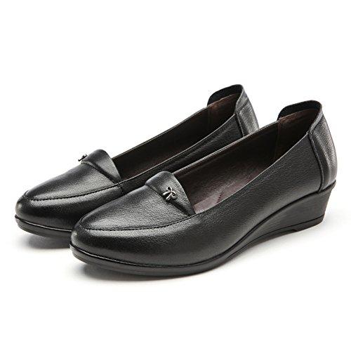 La boca baja con los zapatos de cuero/zapatos antideslizantes inferiores suaves de la primavera/ pendiente redondo con un solo zapato de cuero A