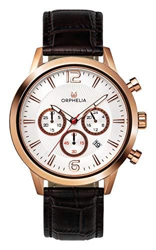 ORPHELIA Tempo OR81804 Men's Watch 43mm,Leather Brown Strap Japanese Quartz
