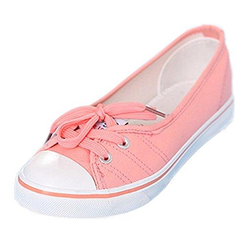 Minetom Damen Mädchen Mode Segeltuchschuhe Runde Zehe Flache Ferse Espadrilles Freizeit Loafer Schuhe Rosa 35