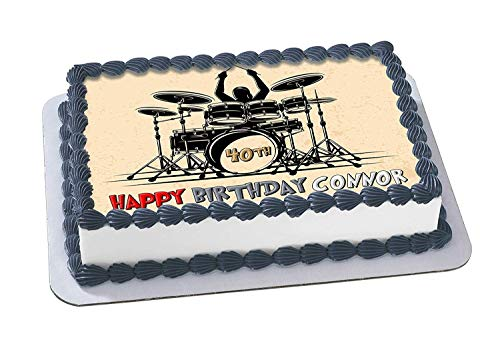 (Drum Kit Edible Cake Image Topper Personalized Birthday 1/4 Sheet Custom Sheet Party Birthday Sugar Frosting Transfer Fondant Image ~ Best Quality Edible Image for)