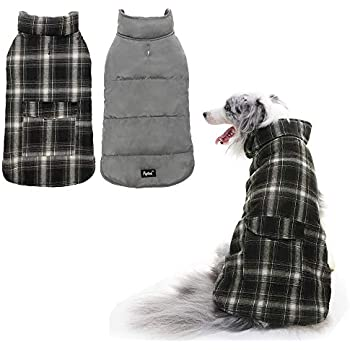 PUPTECK Reversible Dog Winter Clothes Waterproof Cold Weather Coat Black & White Medium