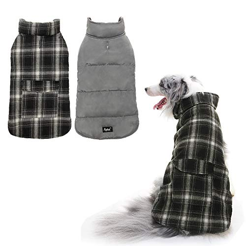 (PUPTECK Reversible Dog Winter Clothes Waterproof Cold Weather Coat Black & White Extra Large)