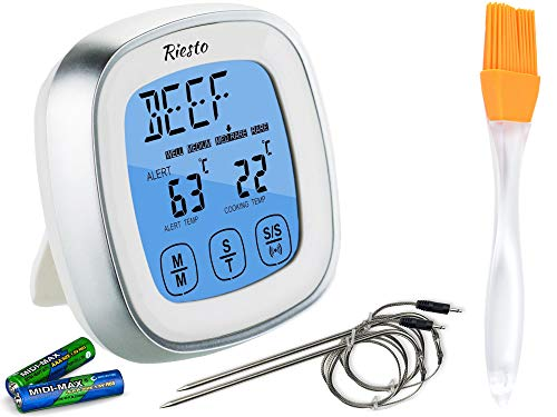 Riesto Digital Meat Thermometer For Grill - Oven Smoker Kitchen Cooking | Instant Temperature Read Gauge With BBQ Accessories + Metal Wired Spare Probes