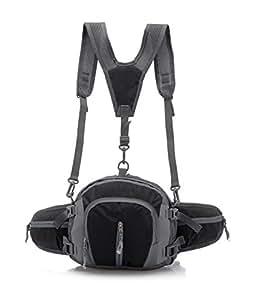 Outdoor Sports Waterproof Multi - Functional Mountaineering Shoulder Messenger Bag Backpack Pockets,Black