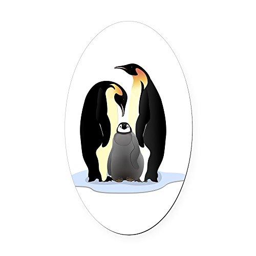 (Oval Car Magnet Emperor Penguin Family Huddled Together)