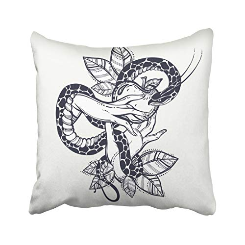 Emvency Decorative Throw Pillow Case Cushion Cover Eve's Hands with Forbidden Fruit and Snake Tattoo of Biblical Story Eve Vintage 20x20 Inch Cases Square Pillowcases Covers Two Sides Print