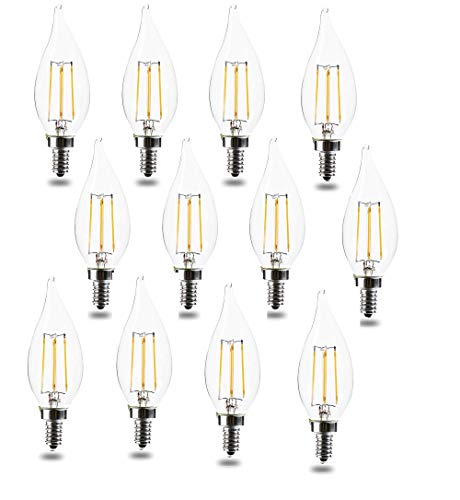 E12 Bulb Candelabra LED Bulbs 60 Watt 120V Equivalent CA11 Soft White 4.5W 2700K LED Chandelier Bulbs, Candelabra Base, Dimmable LED Lamp, UL Listed (12pack)