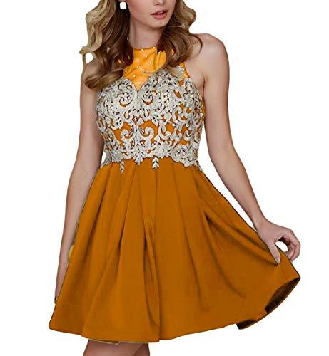 Cocktail Homecoming Applique Women's Prom Dresses DKBridal Mini Neck Orange Sheer Gold Halter 2018 Dress Party vzqIX