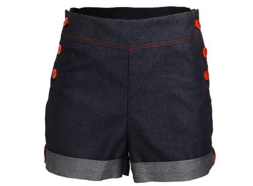 Retro-Pin-up-Denim-Jeans-Rockabilly-High-Waist-Womens-Shorts-Hotpants