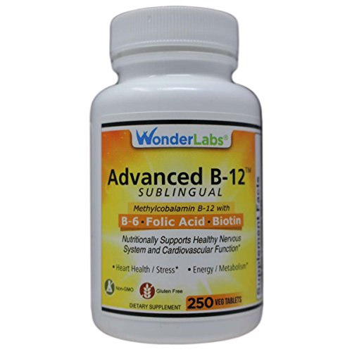 Sublingual Vitamin B12 (1000 mcg), B6 (5mg), Folic Acid(400 mcg) & Biotin (25mcg) - Formulated with Methylcobalamin Vitamin B-12 (250 Tablets)