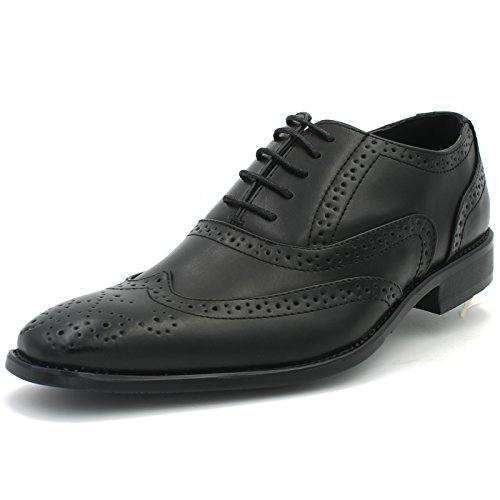 Men's Dress Shoes Full-Brogue Wingtip Formal Oxford Perforation Lace-up Closure (8 D (M) US, (Full Brogue)