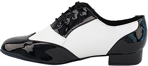 Mens Ballroom Dance Shoes Standard & Smooth Tango Wedding Salsa Shoes Black Patent & White Leather M100101EB Comfortable - Very Fine 1'' Heel 9 M US [Bundle of 5] by Very Fine Dance Shoes (Image #3)