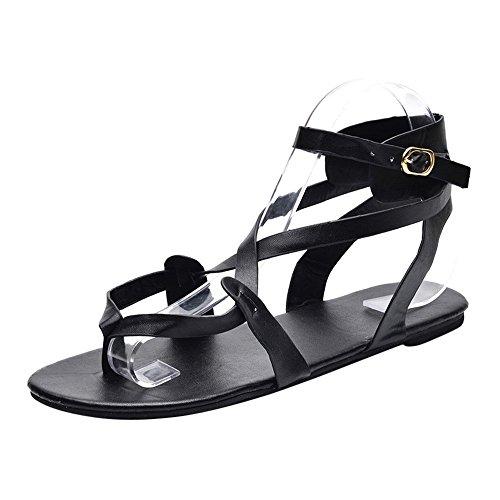 Beaded Leopard Shade - 2019 Summer Fashion Woman Criss Cross Strap Flat Gladiator Roman Sandals Retro Bohemia Clip Toe Flat Beach Sandals Shoes (Black, 6 M US)