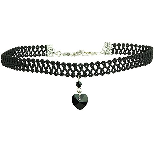 Twilight's Fancy Swarovski Crystal Heart Pendant Choker (Jet Black, (Jet Crystal Necklace)
