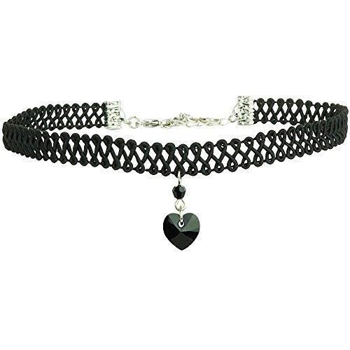 Twilight's Fancy Swarovski Crystal Heart Pendant Choker (Jet Black, Small) Heart Pendant Choker