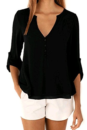 Happy Sailed Women 2018 Casual Chiffon Button V Neck Blouses Shirts,Medium - Day Delivery Free