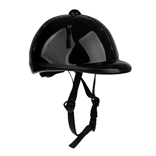 Black Shiny Helmet - Baoblaze Adjustable Horse Riding Helmet Equestrian Helmet for Kids / Toddlers (48-54cm) - Black Shiny