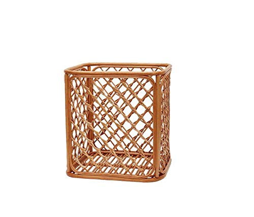 Zhjsnlfghjh Clothes Hamper Rattan Rattan Storage Basket European Bath Stained Clothes Bucket Storage Box Straw Bamboo Braided (Size : L 413845cm) -