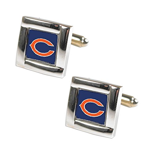 aminco NFL Chicago Bears Logo Engraved Square Cufflinks, One Size, Silver