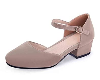 3c00b5705ac0 SFNLD Women s Sweet Suede Round Toe Ankle Strap Buckle Low Block Heel Pumps  Shoes Light Brown