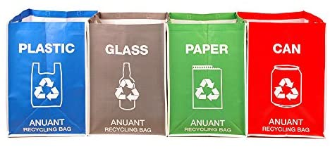 ANUANT Separate Recycling Waste Bin Bags for Kitchen Office in Home - Recycle Garbage Trash Sorting Bins Organizer Waterproof Baskets Compartment ...