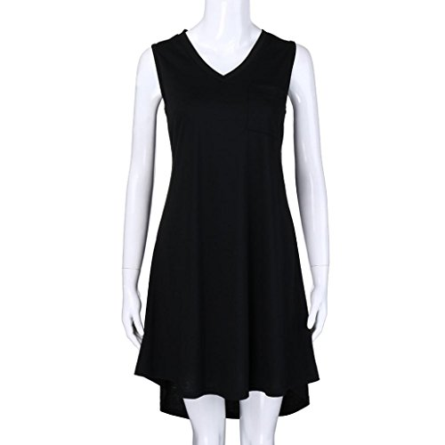 Robes Summer Tank Jupe V Summer Womens Noir Cou Manches VJGOAL Casual LChe Poche Racerback Noire Short Mini Robe Longue E1Xqn