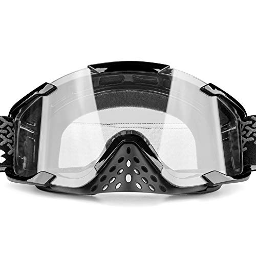 - BATFOX ATV Goggles Dirt bike Motocross Riding Motorcycle Glasses Goggles Interchangeable Lenses for Men Women Youth Fit Over Glasses Detachable Nose Guard (Clear)