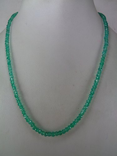 4mm Faceted Genuine Green Onyx Rondelle Beads Necklace, 18 Inches Necklace, Gift for Her