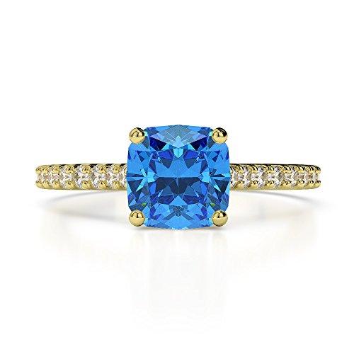 Or jaune 18carats 1CT G-H/VS sertie de diamants taille Coussin Topaze bleue et bague de fiançailles Agdr-1216