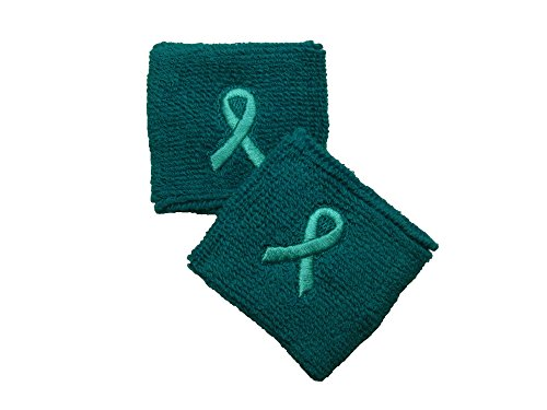 - 2.5 inch Teal Wristband with Ribbon for Support Ovarian Cancer - 1 Pair