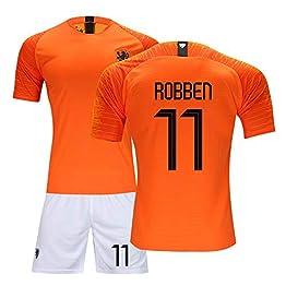 Adulte Maillot de football for enfants - Jersey Néerlandais, équipe nationale de football 11 Robben Costume uniforme de formation des hommes et des enfants Impression Respirant et séchage rapide, oran