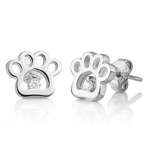 (925 Sterling Silver CZ Tiny Little Paw Print Dog Puppy Lovers Open Post Stud Earrings 8 mm)